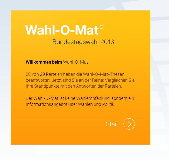 Bundestagswahl 2013 – Entscheidungshilfe aus dem Web für Unentschlossene!?